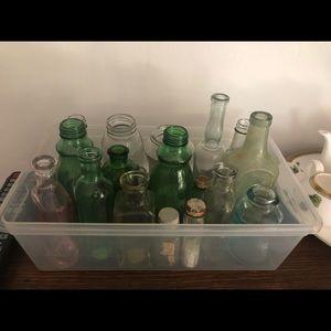 Vintage glass bottles and vases